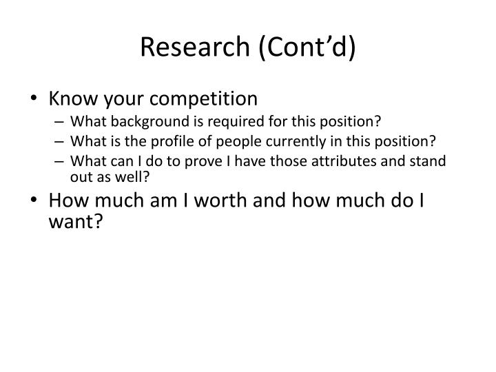 Research (Cont'd)
