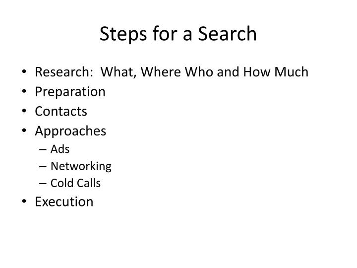 Steps for a search