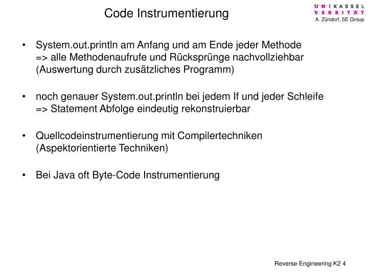 Code Instrumentierung
