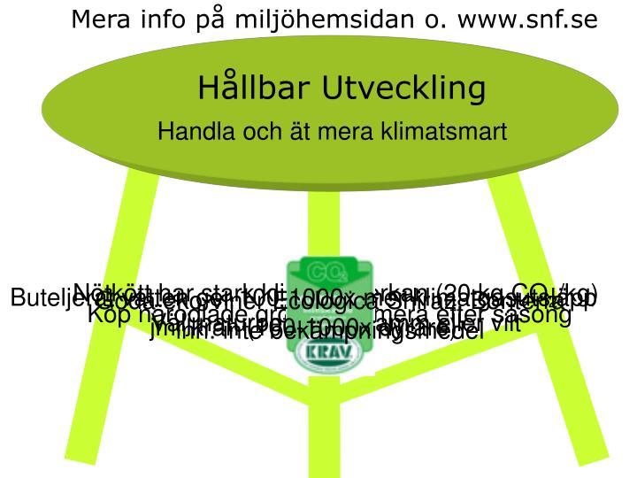 Mera info p miljhemsidan o. www.snf.se