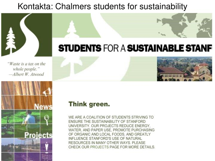 Kontakta: Chalmers students for sustainability