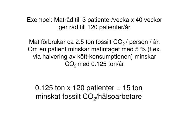 Exempel: Matrd till 3 patienter/vecka x 40 veckor ger rd till 120 patienter/r