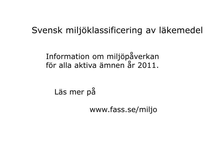 Svensk miljklassificering av lkemedel