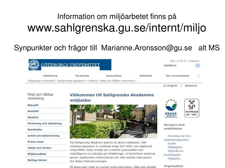 Information om miljarbetet finns p