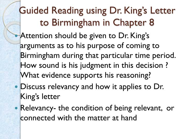 Guided Reading using Dr. King's Letter to Birmingham in Chapter 8