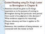 guided reading using dr king s letter to birmingham in chapter 8