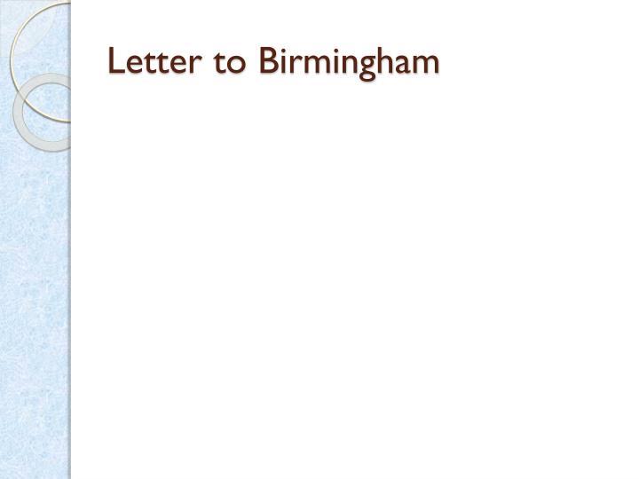 Letter to Birmingham