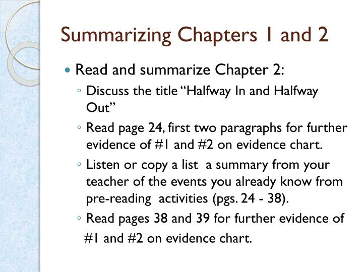 Summarizing Chapters 1 and 2