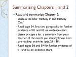 summarizing chapters 1 and 21