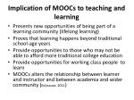 implication of moocs to teaching and learning