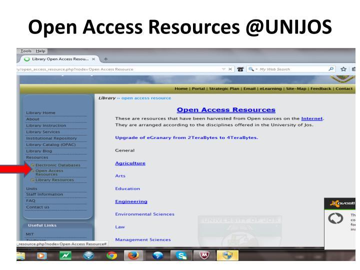 Open Access Resources @UNIJOS