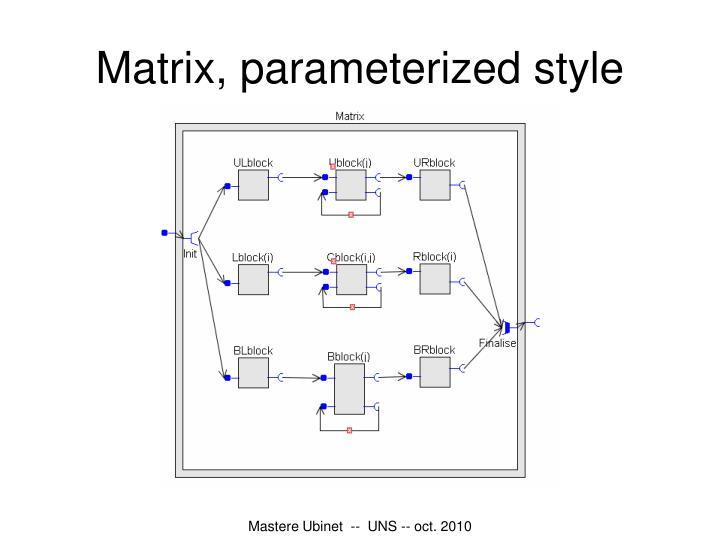 Matrix, parameterized style