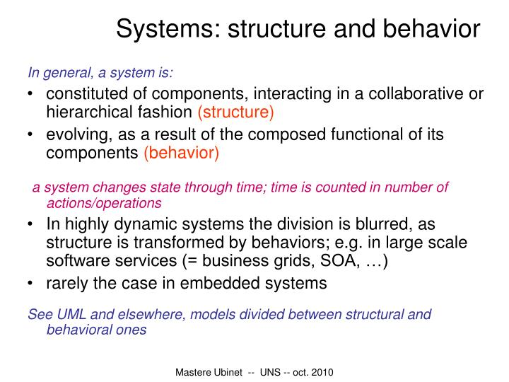 Systems: structure and behavior
