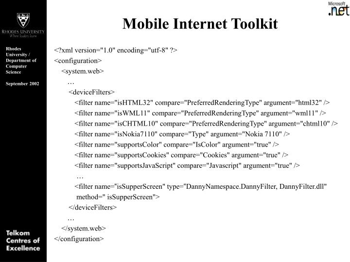 Mobile Internet Toolkit