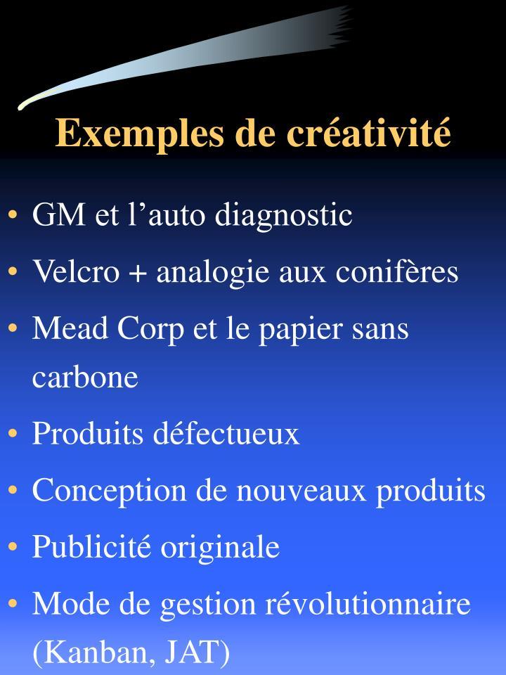 Exemples de créativité