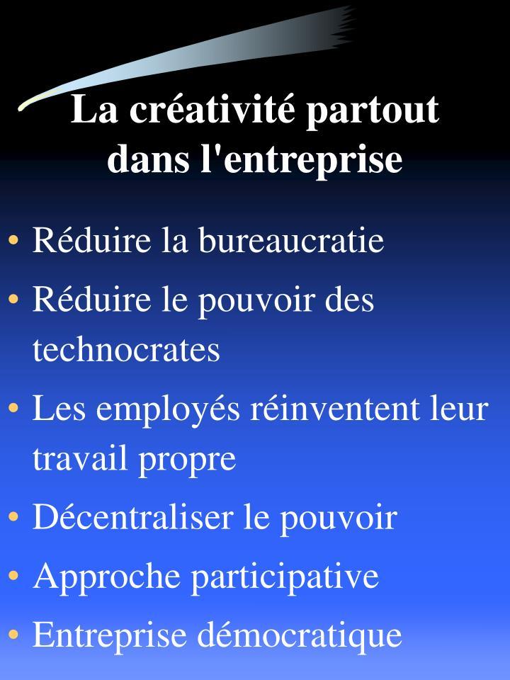 La créativité partout dans l'entreprise