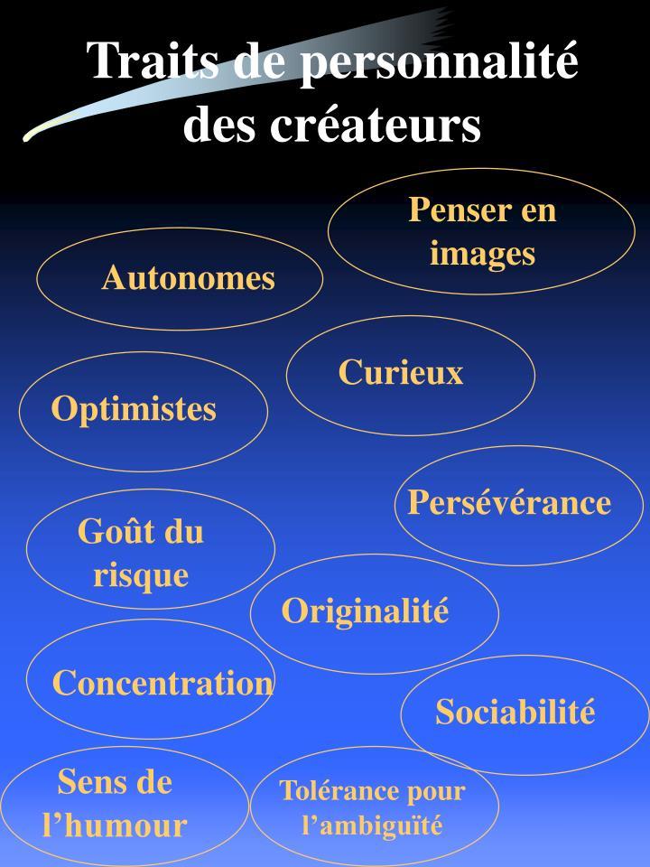 Traits de personnalité des créateurs