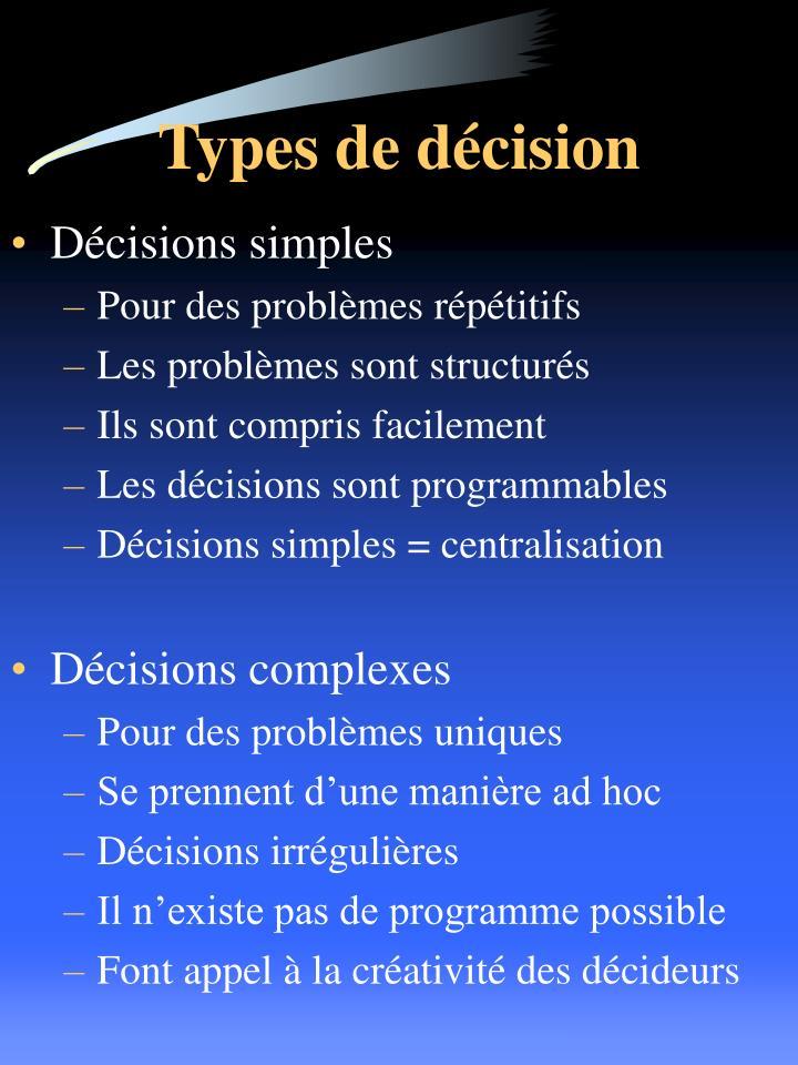 Types de décision