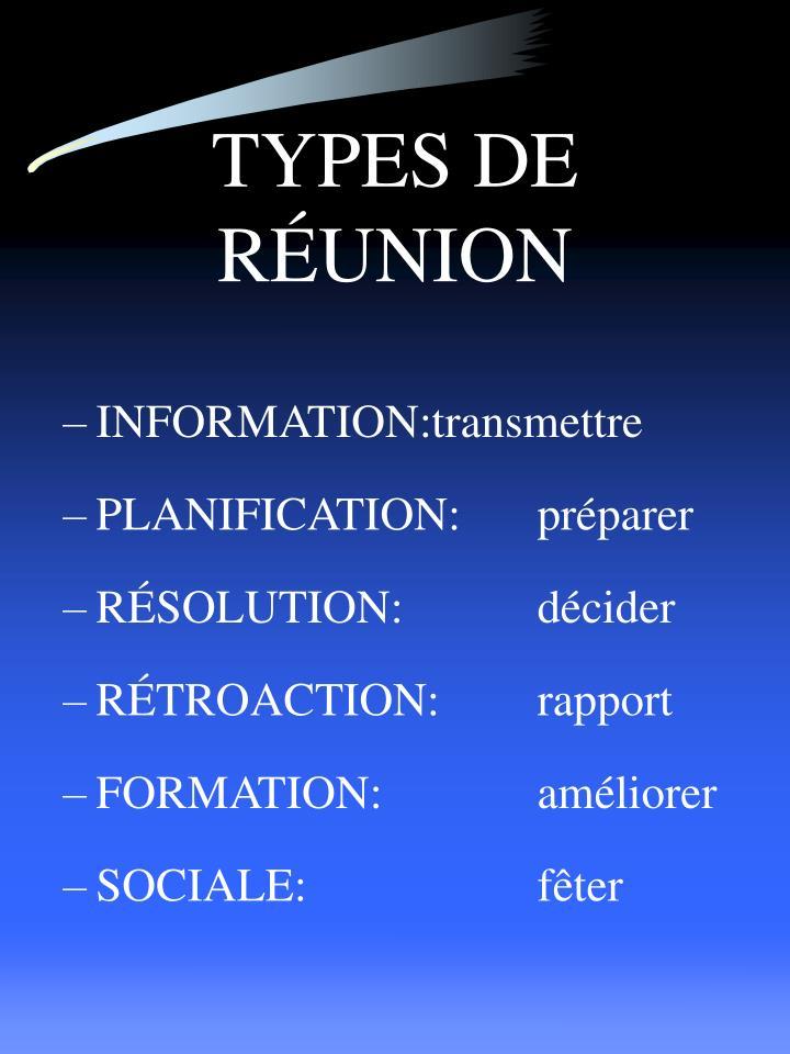 TYPES DE RÉUNION