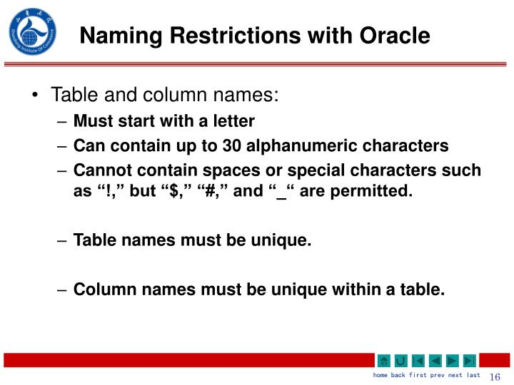 Naming Restrictions with Oracle