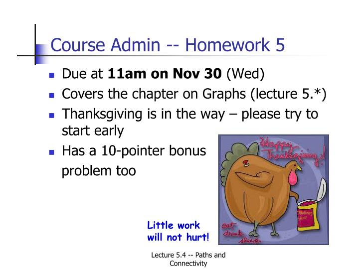 Course Admin -- Homework 5