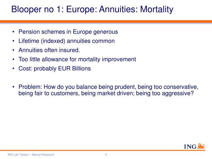 Blooper no 1: Europe: Annuities: Mortality