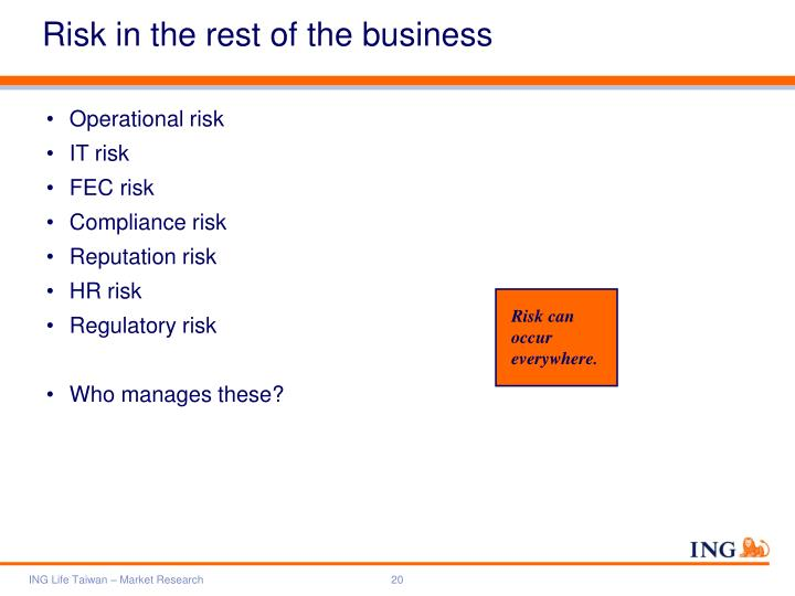 Risk in the rest of the business
