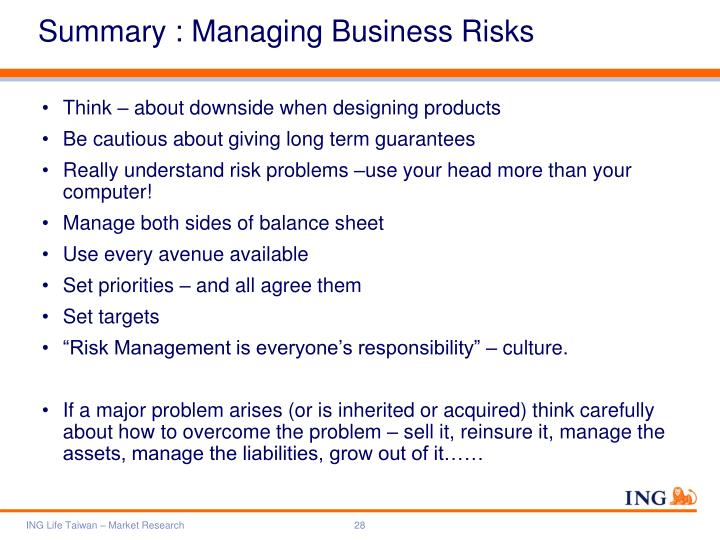 Summary : Managing Business Risks