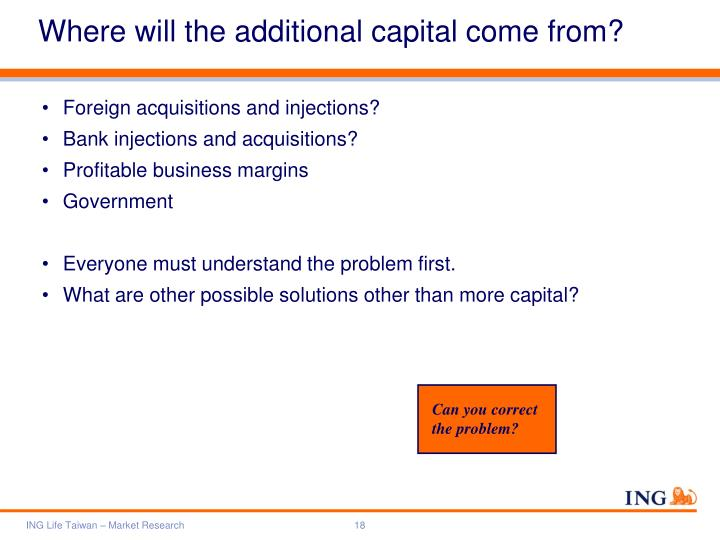 Where will the additional capital come from?