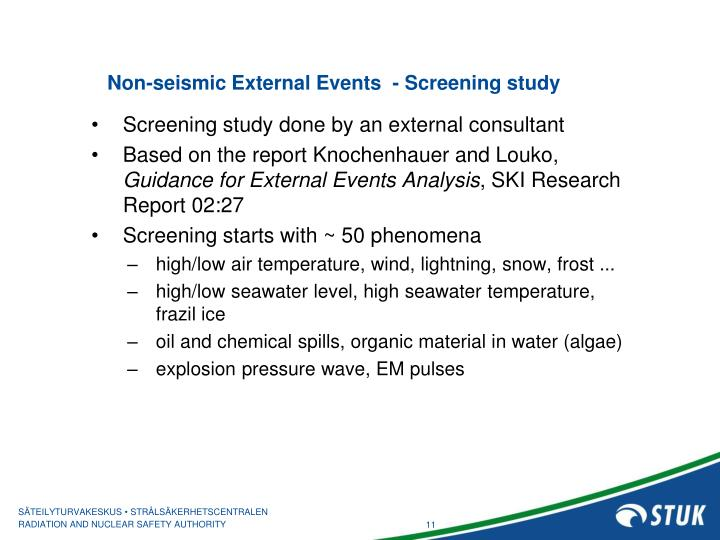 Non-seismic External Events  - Screening study