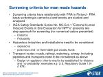 screening criteria for man made hazards