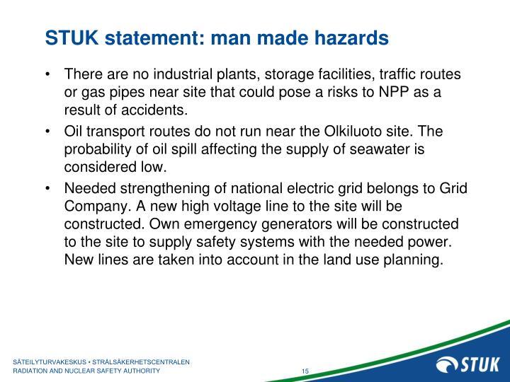 STUK statement: man made hazards