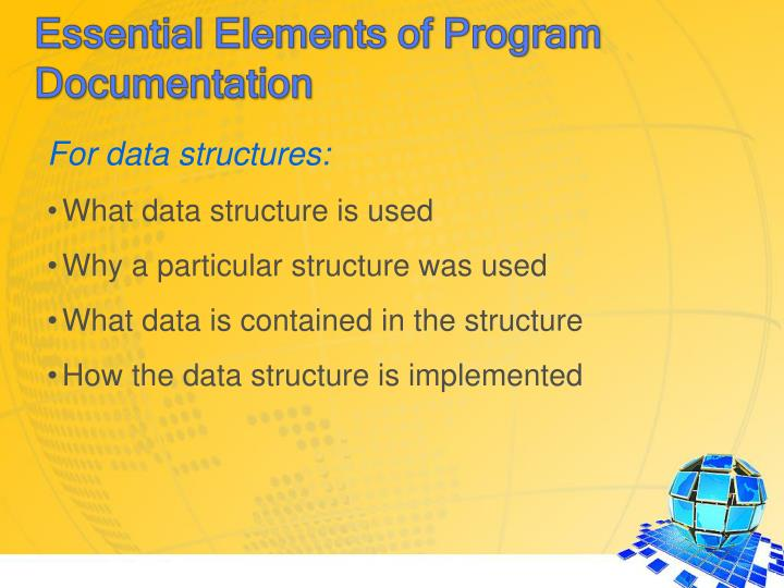 For data structures: