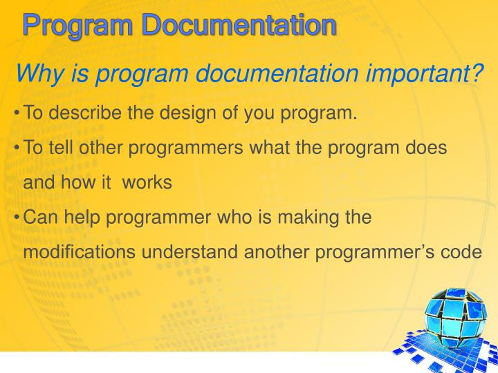 Why is program documentation important?