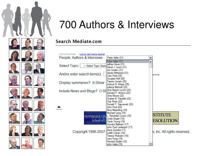 700 Authors & Interviews