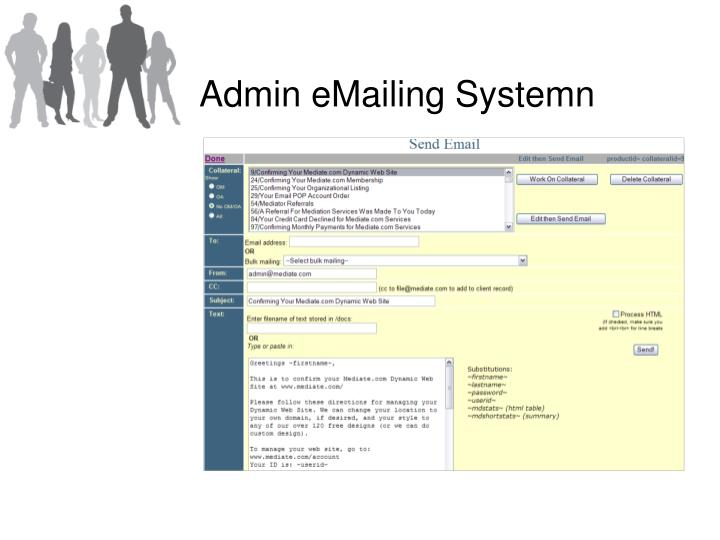 Admin eMailing Systemn