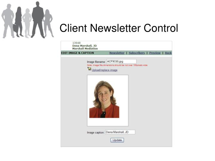 Client Newsletter Control