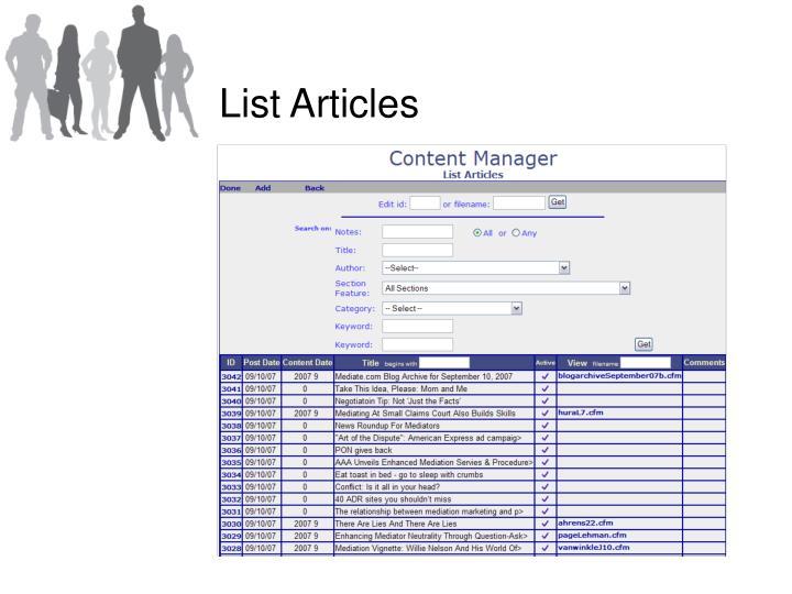 List Articles