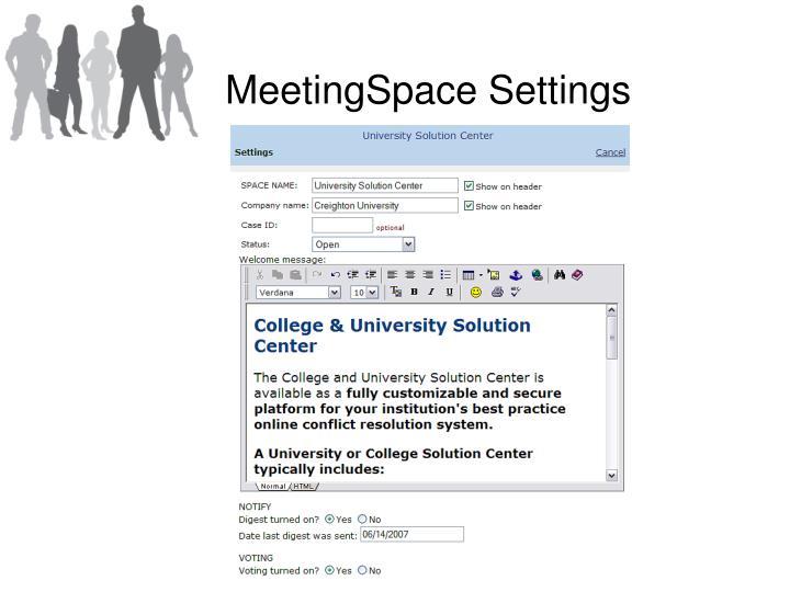 MeetingSpace Settings