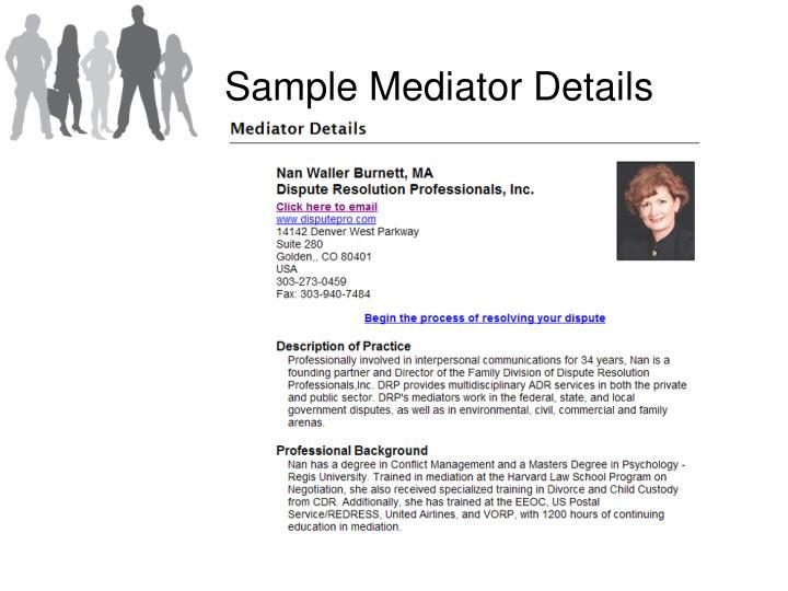 Sample Mediator Details