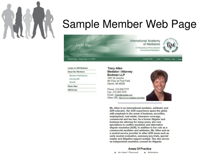 Sample Member Web Page
