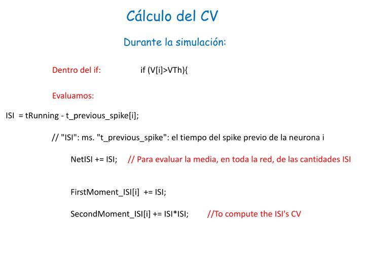 Cálculo del CV