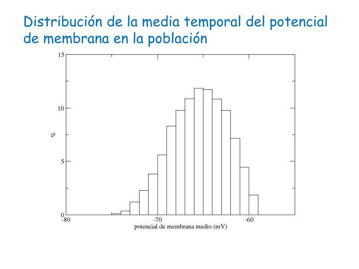 Distribución de la media temporal del potencial de membrana en la población
