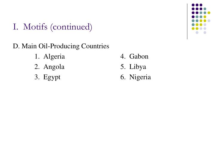 I.  Motifs (continued)