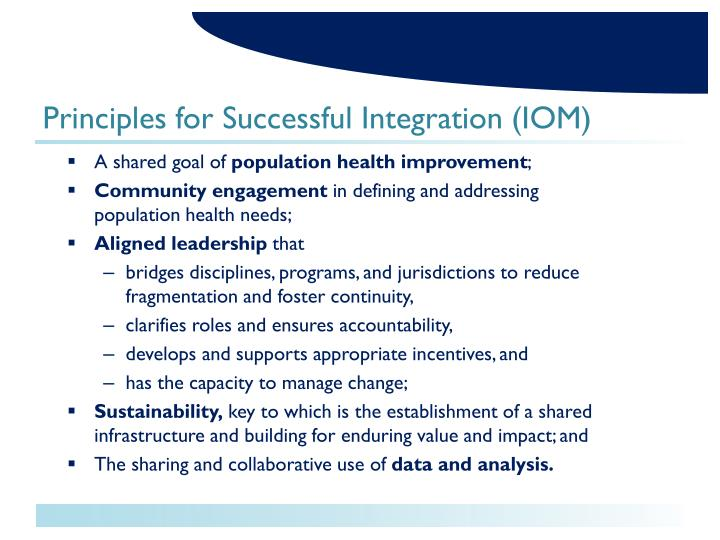 Principles for Successful Integration (IOM)