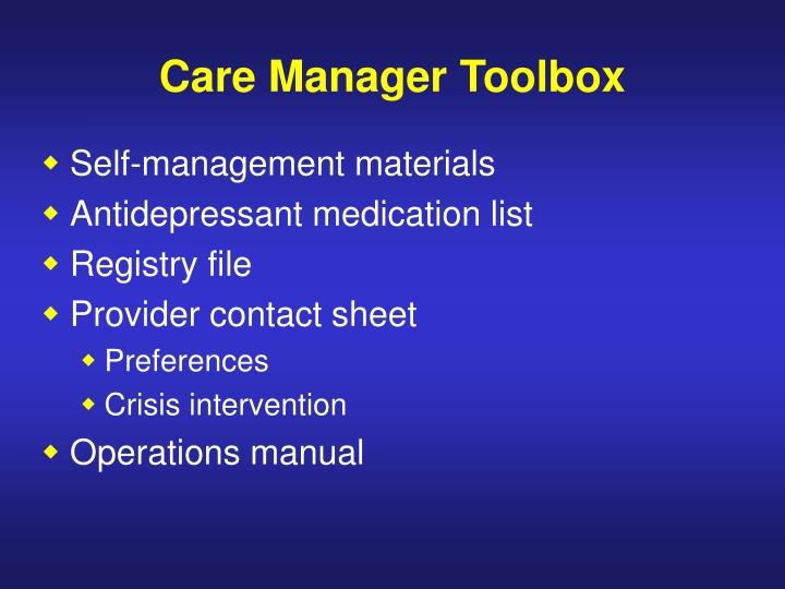 Care Manager Toolbox