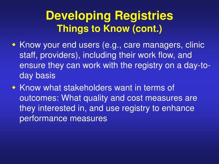 Developing Registries