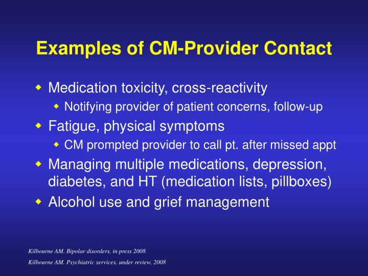 Examples of CM-Provider Contact