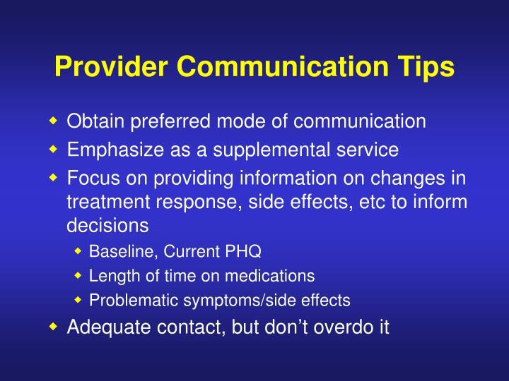 Provider Communication Tips