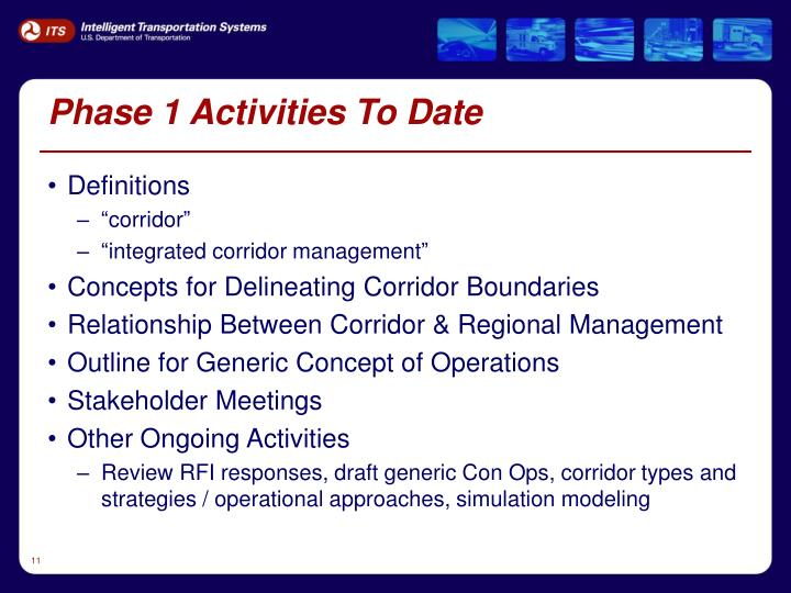 Phase 1 Activities To Date